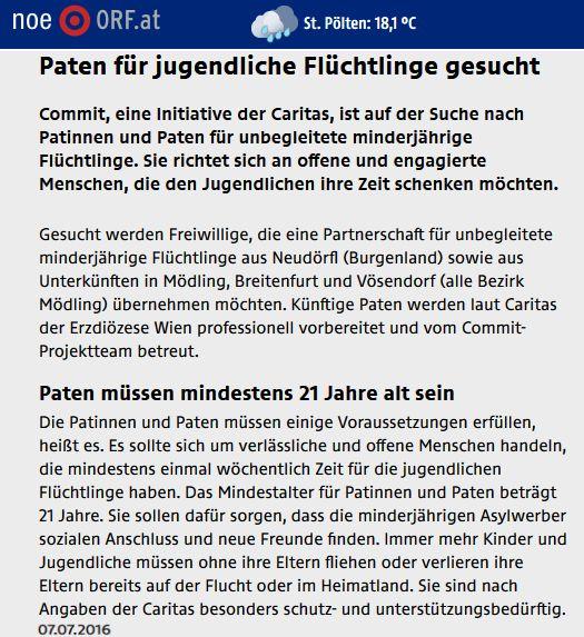 ORFNOe_20160707_PatenFuerJugendlicheFluechtlingeGesucht